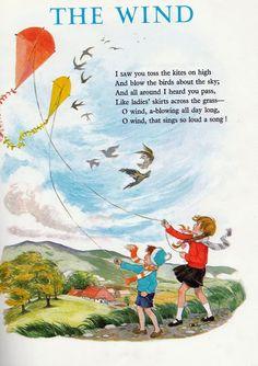 Soloillustratori: Hilda Boswell Nursery Rhymes Poems, Rhymes Songs, Preschool Poems, Kids Poems, Wind Poem, Go Fly A Kite, Kite Flying, Poetry For Kids, Short Poems