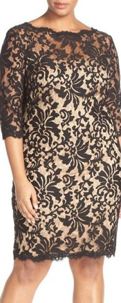 Wear this Plus Size Women's Tadashi Shoji Embroidered Lace Dress in nude and black to a day to evening wedding
