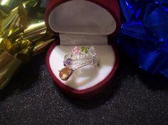 925 RAINBOW GEMSTONE RING size 8