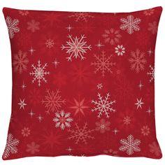 Sterne, Schneeflöckchen und Eiskristalle, ein gewebtes Kissen in rot mit Lurex von Apelt, Artikel 8033