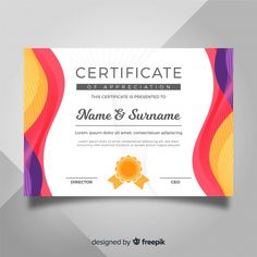 Certificate of appreciation Free Vector Make Business Cards, Beauty Business Cards, Printable Business Cards, Certificate Of Achievement Template, Certificate Design Template, Award Certificates, Lipsense Business Cards, Certificate Background, Certificate Of Appreciation