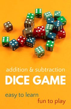 Fun addition and subtraction dice game great for kids ages 5 and up who are learning early math skills. Very easy to learn and quick to play. Math Activities For Kids, Math For Kids, Fun Math, Games For Kids, Maths, Kinesthetic Learning, Learning Activities, Math Skills, Math Lessons