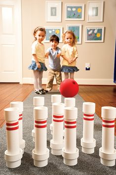 Use PVC pipe to create this bowling game. Best DIY bowling game I've seen. Pvc Pipe Projects, Projects For Kids, Diy For Kids, Crafts For Kids, Project Ideas, Craft Ideas, Diy Toys, Kids Playing, Activities For Kids