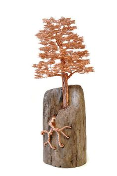 Wire tree  Driftwood sculpture  Wire tree sculpture  Amber