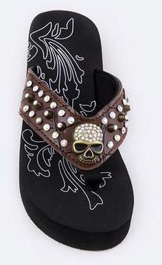 Brown Skull Studded Sandals - FTGS