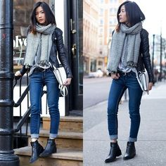 Viparo Leather Jacket, Helmut Lang Ankle Boots, Zara Houndstooth Scarf
