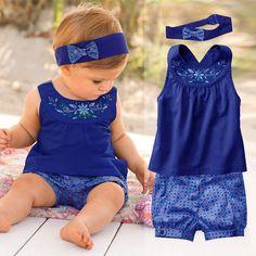 ea016f697e095 Moda Neonate Imposta 2017 Estate Neonato Vestito per Bambina Boy (Tops +  Headband + Pants) Infantile vestiti Roupas De Bebe Menina in Moda Neonate  Imposta ...