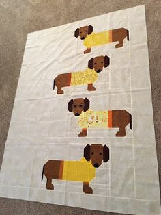 Cozy Little Quilts: Dogs In Sweater quilt all sewn together :-D