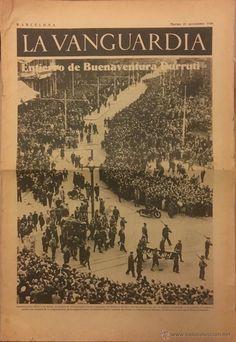La Vanguardia.1936. Entierro de Buenaventura Durruti. Raro. - Foto 1