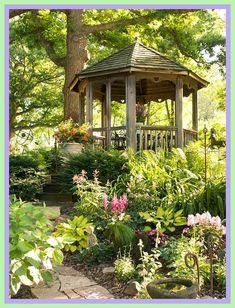 woodland patio ideas-#woodland #patio #ideas Please Click Link To Find More Reference,,, ENJOY!! Cozy Backyard, Backyard Gazebo, Pergola Garden, Diy Pergola, Backyard Landscaping, Landscaping Ideas, Backyard Ideas, Small Gazebo, Patio Ideas