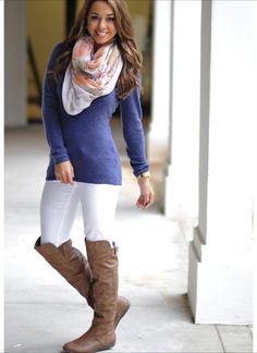 Navy Blue sweater with white skinny jeans or leggings and a scarf, love it!