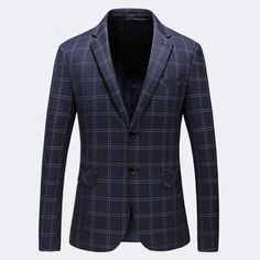 88783638af73 Navy Blue Plaid Blazer Men 2019 Slim Fit Two Buttons Mens Casual Blazer  Jacket Formal Blazer Homme Luxe S-5XL Plus Size