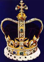 St Edward's Crown 1661 Made from solid 24kt gold and now permanently set with 444 semi precious stones from the personal collection of George V. It weighs more than 2kg and Queen Elizabeth was said to practice wearing it for weeks preceding her coronation to get used to the weight. It is only worn once officially for the act of coronation and never again after that.