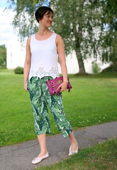 Tall Girl's Fashion // Green culottes and white lace top