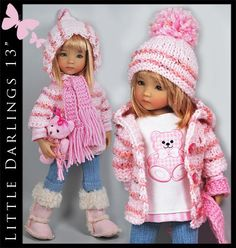 "Pink & White Bear Outfit for Little Darlings Effner 13"" by Maggie & Kate Create"