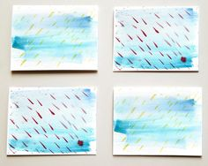 Rain Watercolor Stationery Set abstract by CatherineRexArt on Etsy $12.95