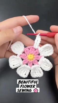 Crochet Bedspread Pattern, Crochet Motif, Crochet Designs, Crochet Flower Tutorial, Crochet Instructions, Free Crochet Flower Patterns, Easy Crochet Stitches, Crochet Basics, Yarn Flowers