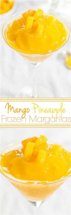 Mango Pineapple Frozen Margaritas - No margarita mix and no sugar needed for amazing, easy margaritas that are ready in 30 seconds!! Refills are a must!! Great for #CincoDeMayo !