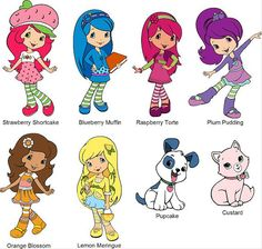New Strawberry Shortcake Characters | Great 8 Strawberry shortcake characters t-shirt fabric IRON ON ...