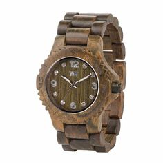 WeWOOD Deneb Army Wooden Women's Wrist Watch Swarovski Crystals Analog Quartz