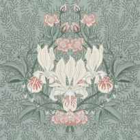 A beautiful iris on a background of leaves forms a traditional medallion pattern with an added twist. Shown here in green, which will add real character to any room. Interior Wallpaper, Wallpaper Size, Green Wallpaper, Flower Wallpaper, Pattern Wallpaper, Wallpaper Ideas, Textile Patterns, Print Patterns, Textiles