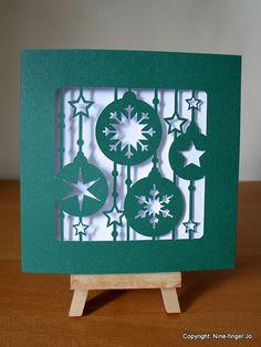 Papercutting of Christmas Tree Decorations Red & Green | 12 cm Paper Cut Xmas Tree Decor Pattern Card Papercut