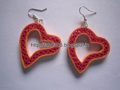Handmade Jewelry - Paper Quilling Heart Earrings (2)
