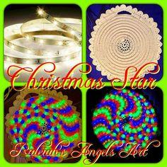 "Decoration ""Christmas Star"", 38cm, crocheted cotton Yarn on 6m LED tape lights (green, red, blue): CAD 125.- (+ shipping fee) #christmasdecorations #crochet #lovecrochet #creativity #beautifulchristmaslights #preparingforchristmas #raleiahsangelsart #namaste  #❤️🙏🏻❤️ @Raleiahs Angels Art Creations @www.raleiahs-angels.com Christmas Star, Christmas Lights, Christmas Decorations, Crochet With Cotton Yarn, Love Crochet, New Darlings, Led Tape, Nature Spirits, Yarn Shop"