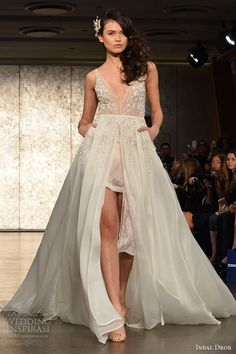 inbal drori fall 2016 wedding dresses bridal week runway fashion v neck tulle split center sexy beautiful flowy a  line dress