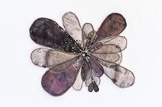 """Flora 3""  380mm x 380mm, framed in Tasmanian Oak Eco-dyed silk, organza, cotton, bamboo batting, thread, sequins, beads."