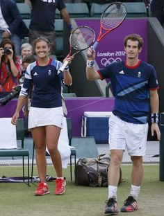 Andy Murray & Laura Robson win their mixed dubs match, 2 August 2012 Famous Sports, Andy Murray, My Generation, World Famous, Wimbledon, Olympic Games, Tennis Racket, Sports News, Cute Guys