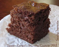 Lighter, more cakey gourmet brownie with fabulous texture; perfect for brunch on a warm day or a 'need to impress' meal - Sandy's brownie - created and submitted by Jo Rose - Denver Cereal brownie contest