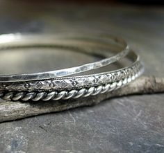 Sterling Silver Stacking Bangles in Patterned Wire - Three's Company