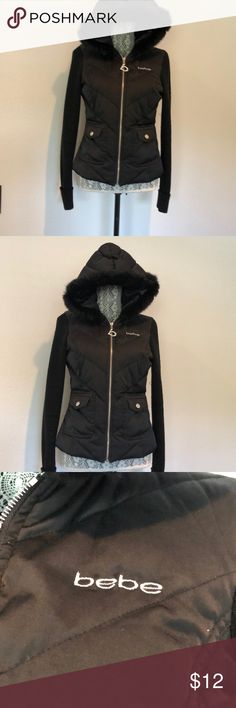 Jacket Lightweight quilted jacked with knit sleeves and faux fur trimmed hood.  This fun Bebe jacket/sweater is great for the weather transition season.  Looks great on, such a nice comfortable weight! bebe Jackets & Coats Puffers