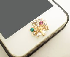 Etsy Cyber Monday/Black Friday 1PC Bling Crystal Alloy Tree iPhone Home Button Sticker Charm for iPhone 4s,4g,5,5c on Etsy, $4.99