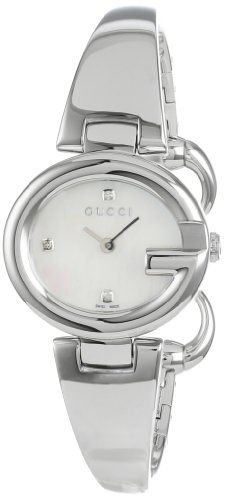 Gucci Women's YA134504 Guccissima Fashion Bangle Mother-Of-Pearl Dial Watch #Gucci #Womens #YA134504 #Guccissima #Fashion #Bangle #Mother-Of-Pearl #Dial #Watch