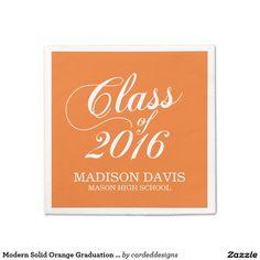 Modern Solid Orange Graduation Napkins Standard Cocktail Napkin