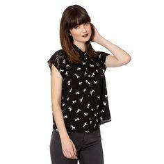 H! by Henry Holland Designer black unicorn lace shirt- at Debenhams.com