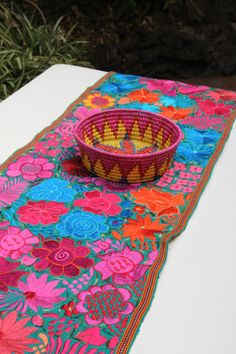 Gorgeous embroidered Chiapas Runner by CasaOtomi on Etsy, Mexico, Tenango, mexican wedding, textile, mexican suzani, suzani, embroidery, hand embroidered, otomi, www.casaotomi.com, otomi, table runner, fiber art, mexican, handmade, original, authetic, textile , mexico casa, mexican decor, mexican interior, frida, kahlo, mexican folk,  folk art, mexican house, mexican home, puebla collection, las flores, travel tote, boho, tote, handbag, purse, cushion, pillow, gift basket