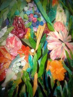 Flowers from My Garden Art Mosaic Mixed by heartsoflovemosaics