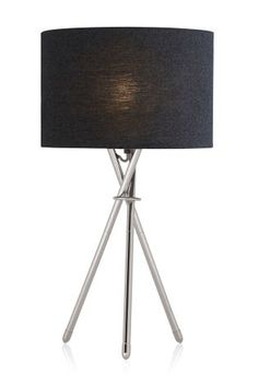 Buy Chrome Tripod Table Lamp from the Next UK online shop Next Table Lamps, Tripod Table Lamp, Floor Standing Lamps, Led Floor Lamp, Light Table, Lamp Light, Walnut Furniture, Bedside Table Lamps, New Home Designs