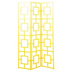 Iron room divider with latticework panels and a yellow finish.  Product: Room dividerConstruction Material: Iron...