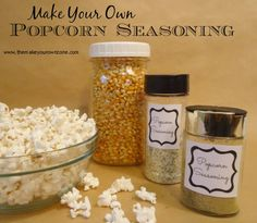 Homemade Gifts:  Popcorn Seasoning - 3 ideas for easy popcorn seasoning spice blends