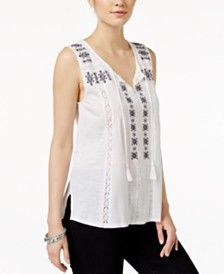 Lucky Brand Embroidered Tassel-Tie Top