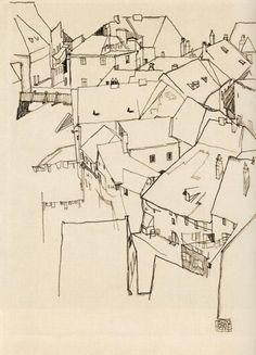 indispensabletopersevere: Egon Schiele background illustration, bring in colour to the foreground element Dessins Egon Schiele, Egon Schiele Drawings, Line Drawing, Drawing Sketches, Painting & Drawing, Art Drawings, Landscape Drawings, Gustav Klimt, Egon Schiele Landscape
