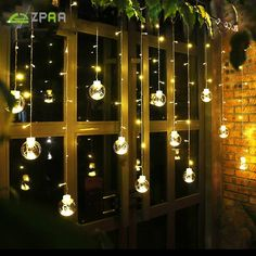 Zpaa M Led Ball Globe String Lights Curtain String Fairy ; zpaa m led ball globe lichterketten vorhang string fairy ; zpaa m led ball globe string lights rideau string fairy ; zpaa m led ball globe string lights cortina string fairy Outdoor Garland, Outdoor Fairy Lights, String Lights Outdoor, Outdoor Lighting, Garden Fairy Lights, Light String, Christmas Window Decorations, Light Decorations, Christmas Lights