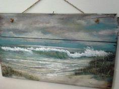 Nice painting it has character. Original ocean seascape painting on Reclaimed Wood Shabby Beach Cottage Primitive Folk Art wallhanging wall decor Painting On Wood, Painting & Drawing, Art Plage, Nautical Wall Art, Primitive Folk Art, Pallet Art, Pallet Ideas, Beach Crafts, Driftwood Art