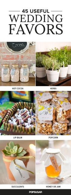 When you're trying to decide what kind of wedding favors you should give to your guests, one thing you should consider is if they'll keep them.  Here are 45 wedding favor ideas that your guests will love and, most importantly, use!