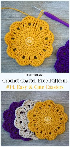 Crochet Easy & Cute Coasters Free Pattern - Easy #Crochet Coaster Free Patterns