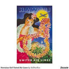Hawaiian Girl United Air Lines Poster